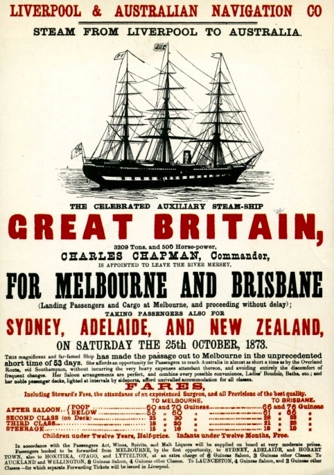 Advertisement for a Liverpool to Australia voyage of SS Great Britain, due to commence on October 25, 1873.