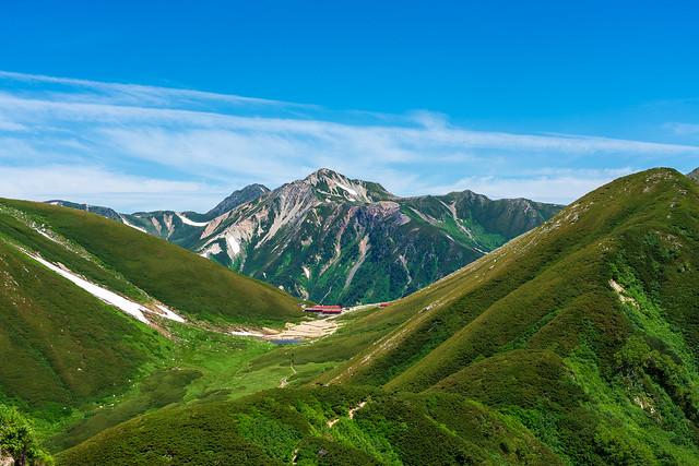 双六山荘と鷲羽岳