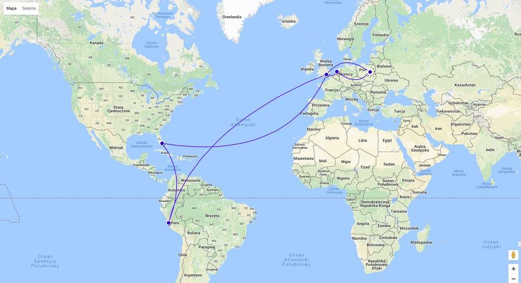 Mapa lotów do Peru