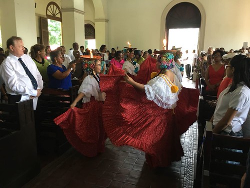Traditional regional dancers during the installation of Archbishop Julio Murray