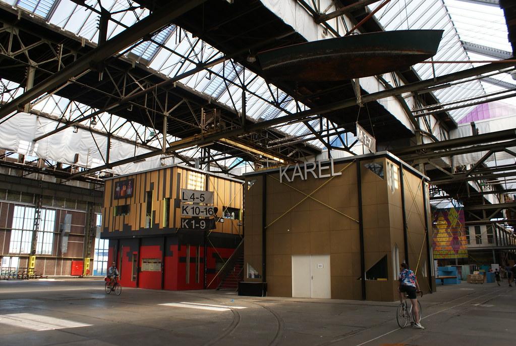 > Charpente métallique du Hangar du chantier naval NDSM d'Amsterdam.