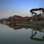 Crane reflection at Preston docks
