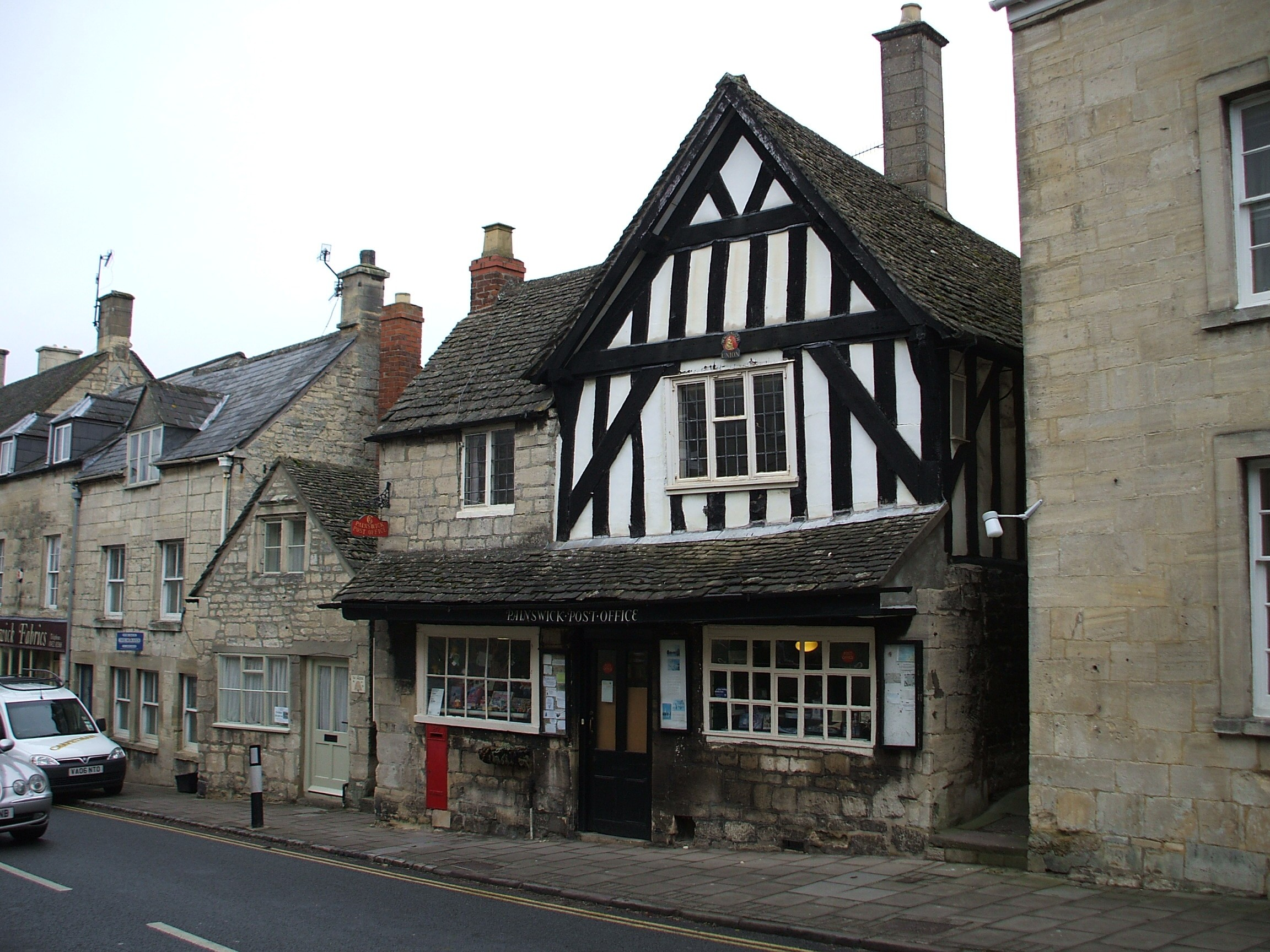 Post office in Painswick, Gloucestershire. The building which housed the post office dates from 1428, making it the oldest known building which also contains a post office within the United Kingdom. Photo taken on March 21, 2013.