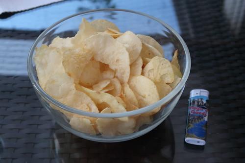Amica Chips Patatine salate = gesalzene Chips aus Italien (erstes Schüsselchen)