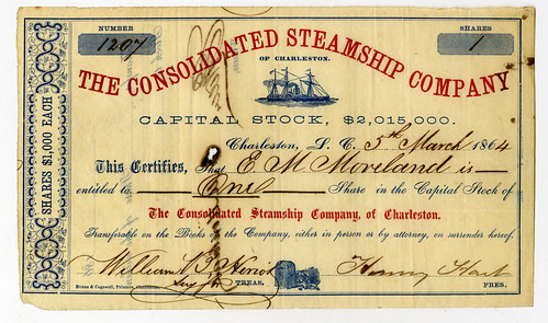 Lot 808. Consolidated Steamship Co. 1864 Blockade Runner Stock Certificate