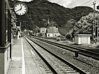 Watch, tracks and a church