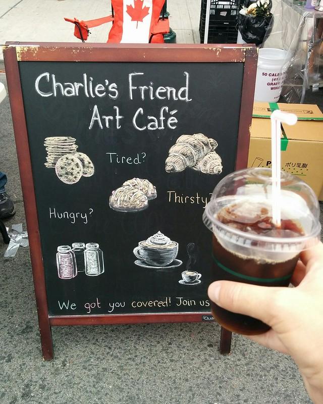 Iced coffee #toronto #bloordale #bloorstreetwest #bigonbloor #streetfestival #coffee #charliesfriend #latergram