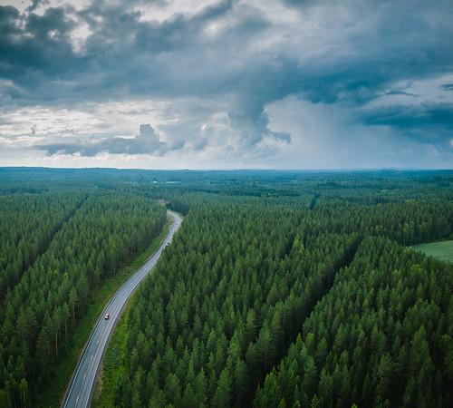 centralfinland dji europe finland jämsä keskisuomi mavic mavicpro aerial clouds drone forest horizon landscape nature rain road sky storm summer thunder fi