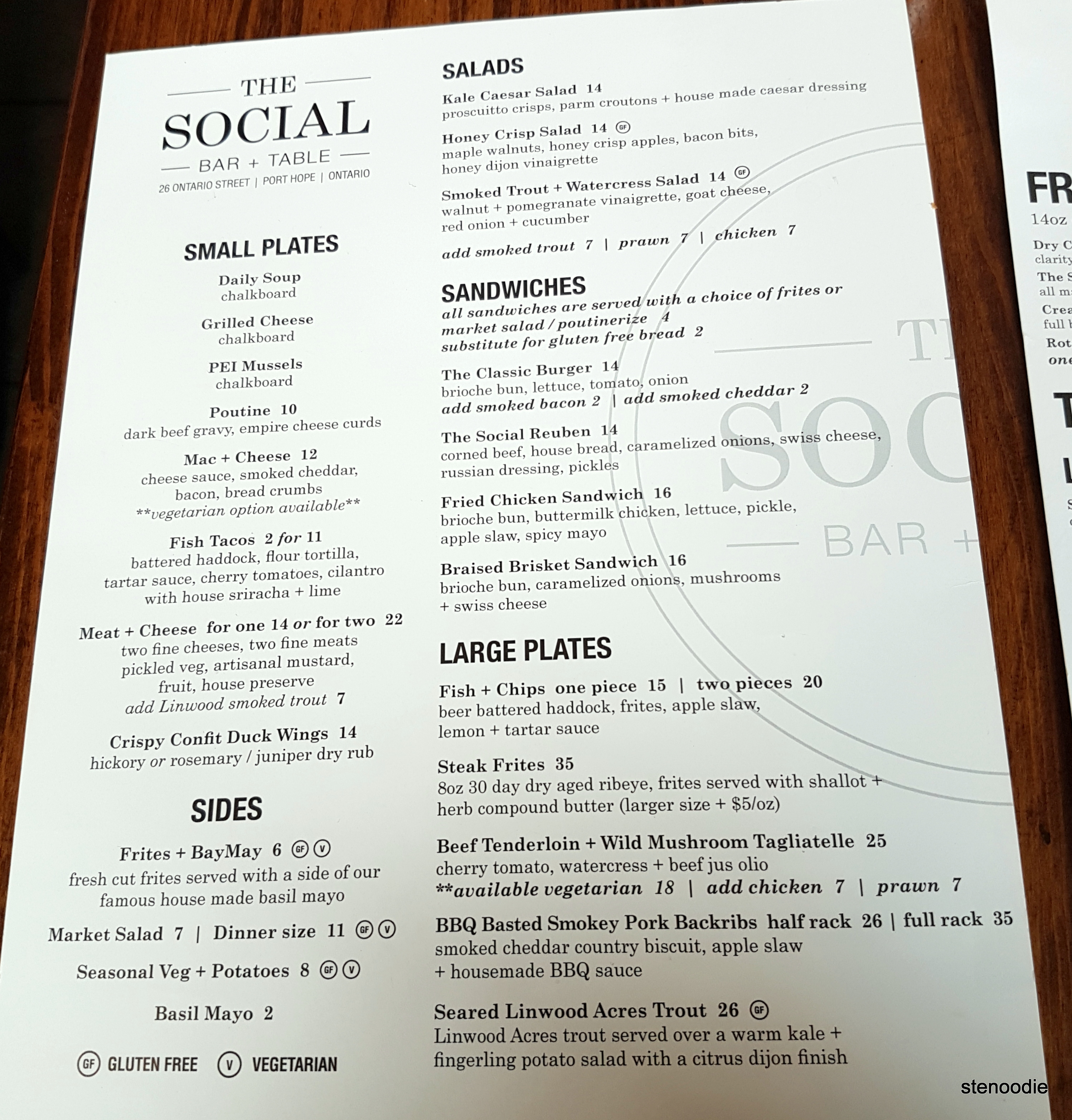 The Social Bar and Table dinner menu and prices