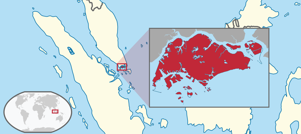 Map showing location of Singapore at the southern tip of the Malay Peninsula.