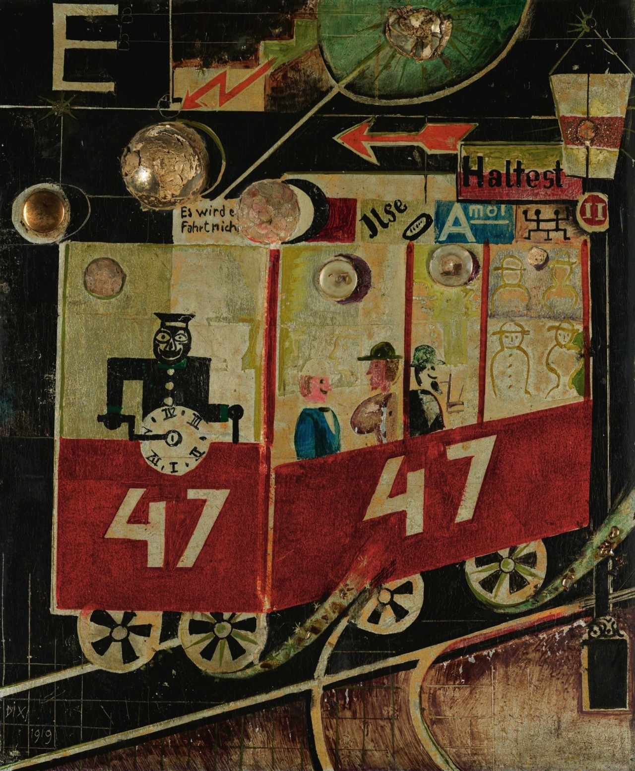 Otto Dix (German, 1891-1969), Die Elektrische [The Electric Tram], 1919. Oil and assemblage on panel, 46 x 37 cm.