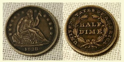 1838 Half Dime Circulation Cameo