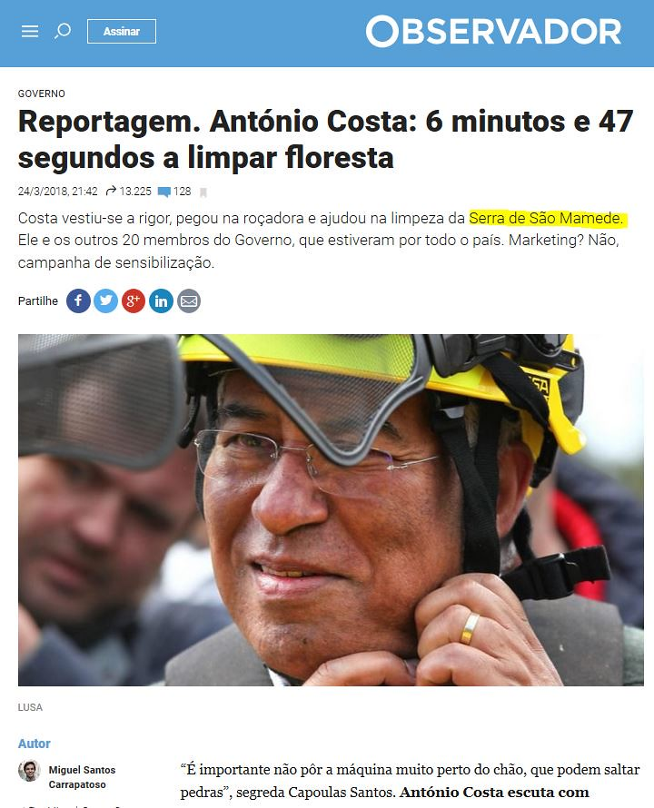 Miguel Carrapatoso, «António Costa; 6 minutos e 47 segundos a limpar floresta», in Observador, 24-3-2018