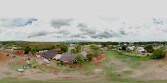 Liliuokalani Church in Haleiwa from 78 feet up - an aerial 360° Equirectangular VR
