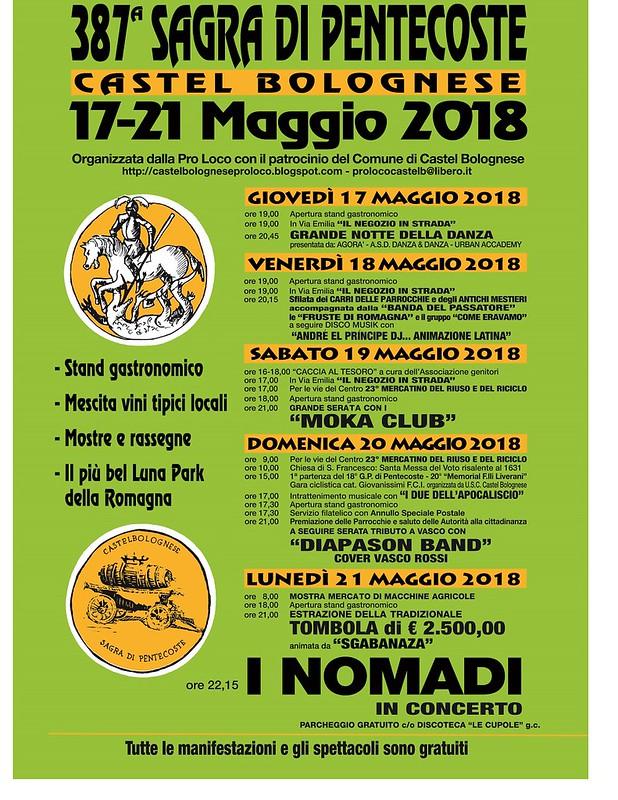 387° Sagra di Pentecoste, dal 17 al 21 maggio 2018 a Castel Bolognese