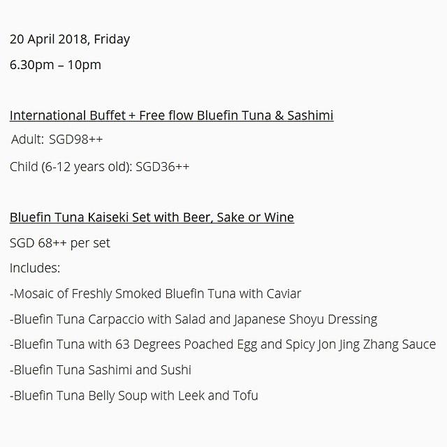 Element Restaurant - Bluefin Tuna Night 2018 Menu - International Buffet & Kaiseki Set