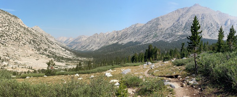 Northwest view down Bubbs Creek from the JMT with Kearsarge Pinnacles and University Peak on the right