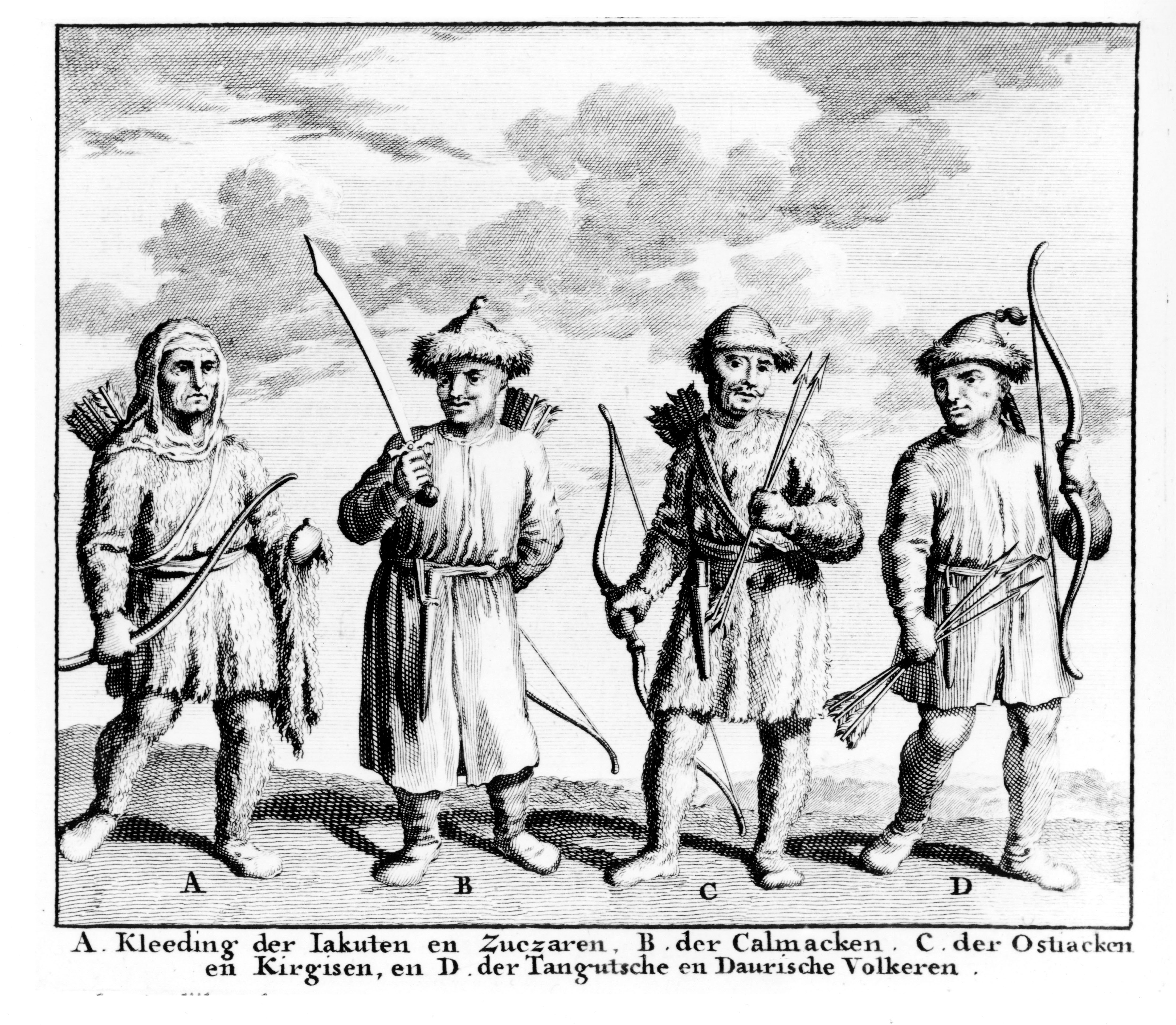 А. Одежда якутов и зухар. В. калмаков, С. остяков и киргиз, и тангутских и даурских народов