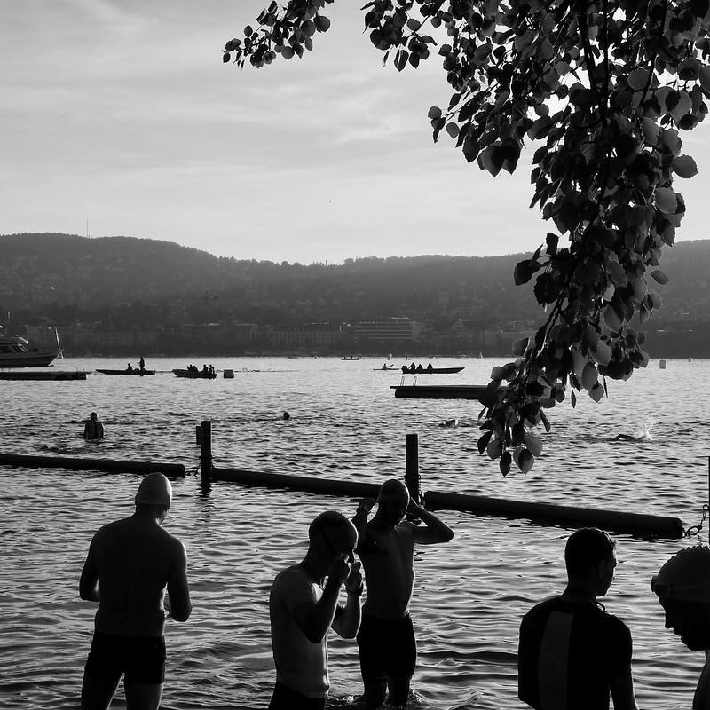 Excitement before the start - Ironman Zurich (in b/w)