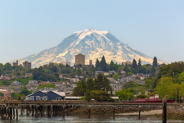 Mount Rainier by Tacoma Waterfront