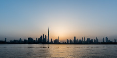 Panoramic view of Dowtown Dubai during a sunset, UAE