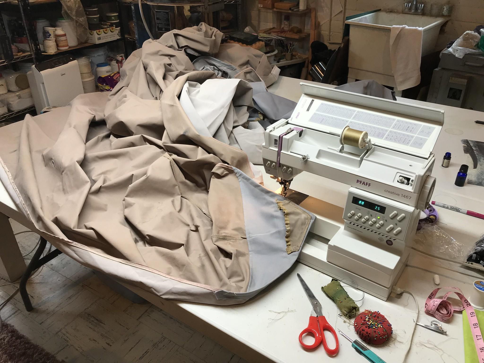 Sewing the gazebo canopy