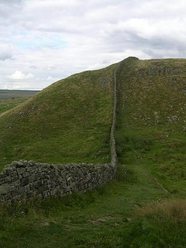 Eastern side of Caw Gap with field wall on Roman Wall