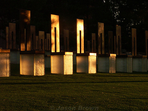 sunset usa oklahoma architecture memorial chairs nps okc bombing oklahomacity april19 nationalmemorial top20landmarks top20oklahoma