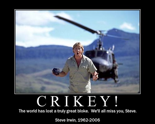 Steve Irwin - a great man that the world and all creatures who inhabit it will deeply miss.