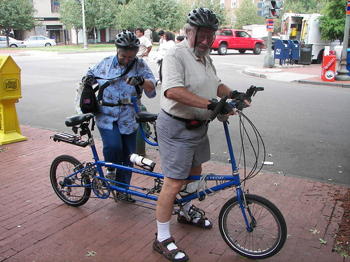 Seniors on a tandem, folding bike, Capitol Hill