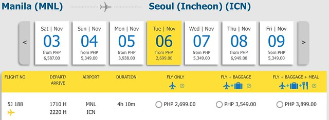 Cebu Pacific Pay Day Fly Day Sale Manila to Incheon Seoul