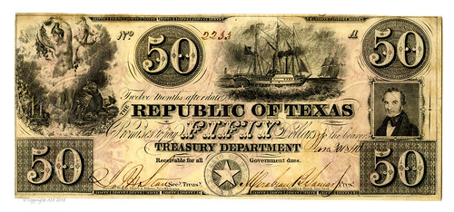 Lot 614. Republic of Texas, 1840, $50 Obsolete Banknote