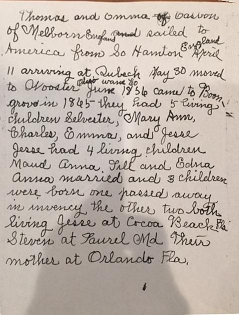 Casbon Anna narrative of Thomas migration from England