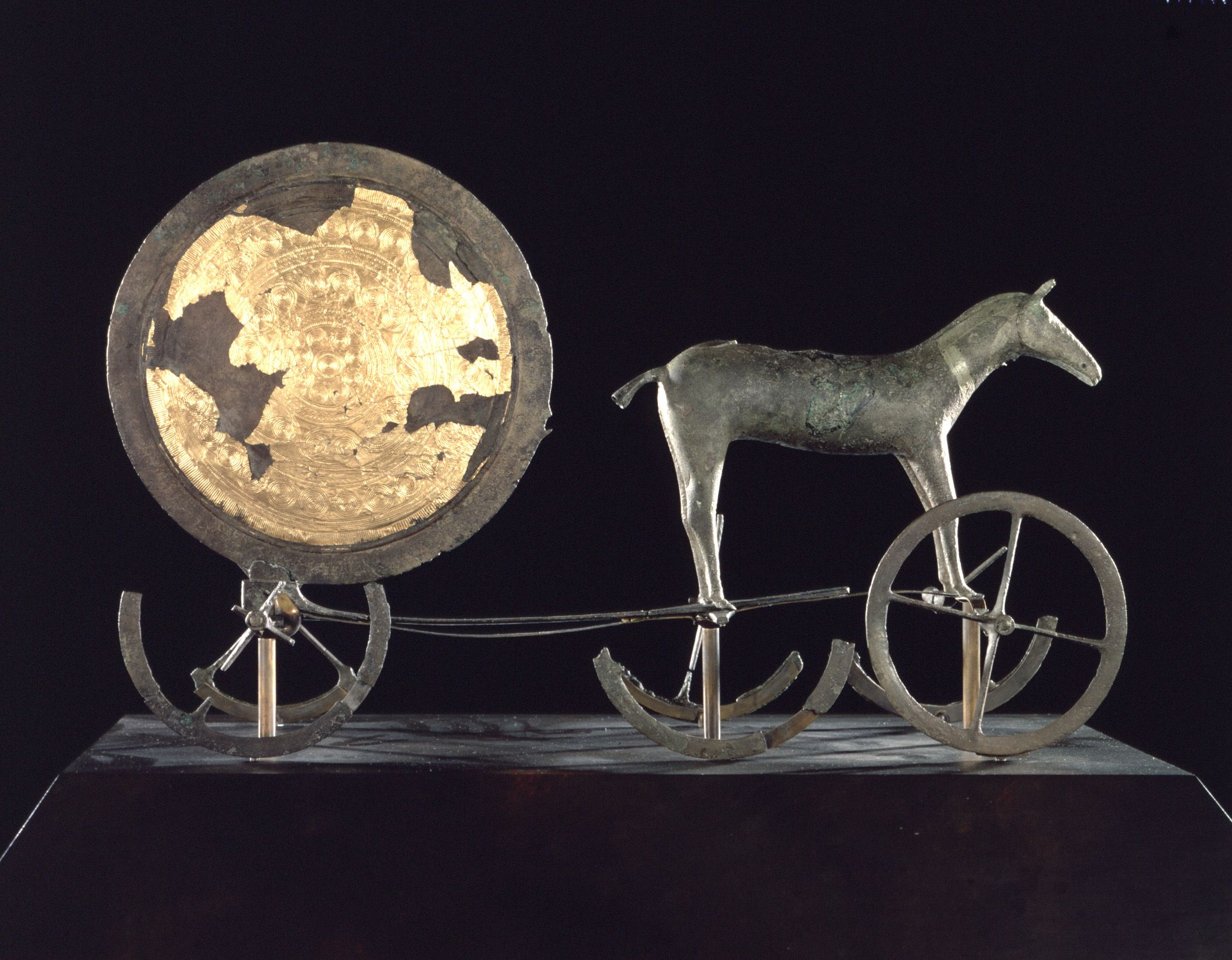 The Trundholm Sun Chariot, an important late Nordic Bronze Age artifact. Displayed in the National Museum of Denmark, Copenhagen.