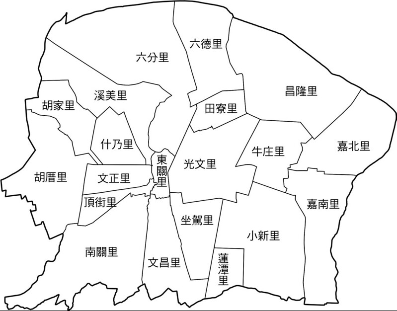 臺南市善化區行政區地圖-20里-有里名無底色
