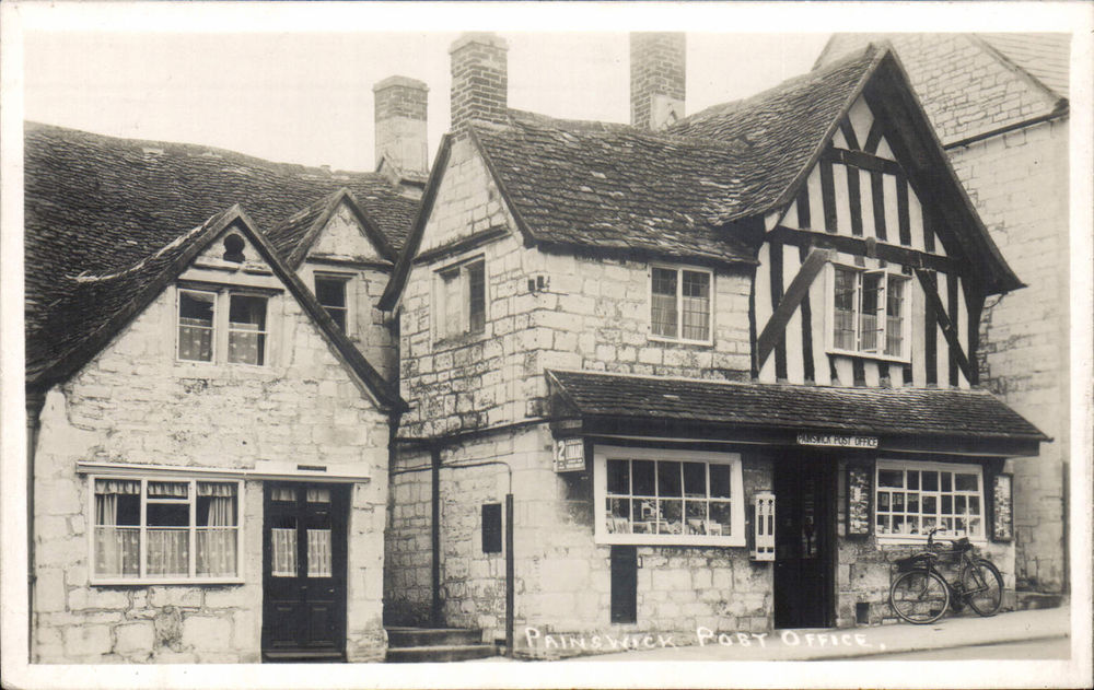Photo of the Painswick, Gloucestershire post office as seen on a postcard mailed in 1941.