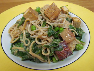 Buckwheat Noodles with Ginger-Peanut Spinach