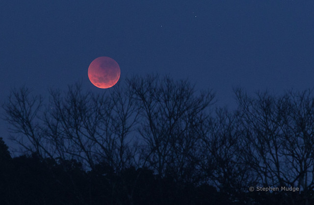 Eclipsed Moon setting in the west