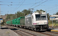 253-033 Renfe Mercancias a cargo del tren mixto Miranda de Ebro-Zaragoza Plaza a su paso por Cenicero (La Rioja)