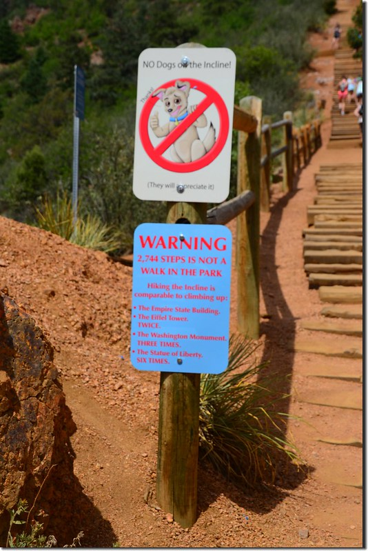 Warning sign at the base of The Incline