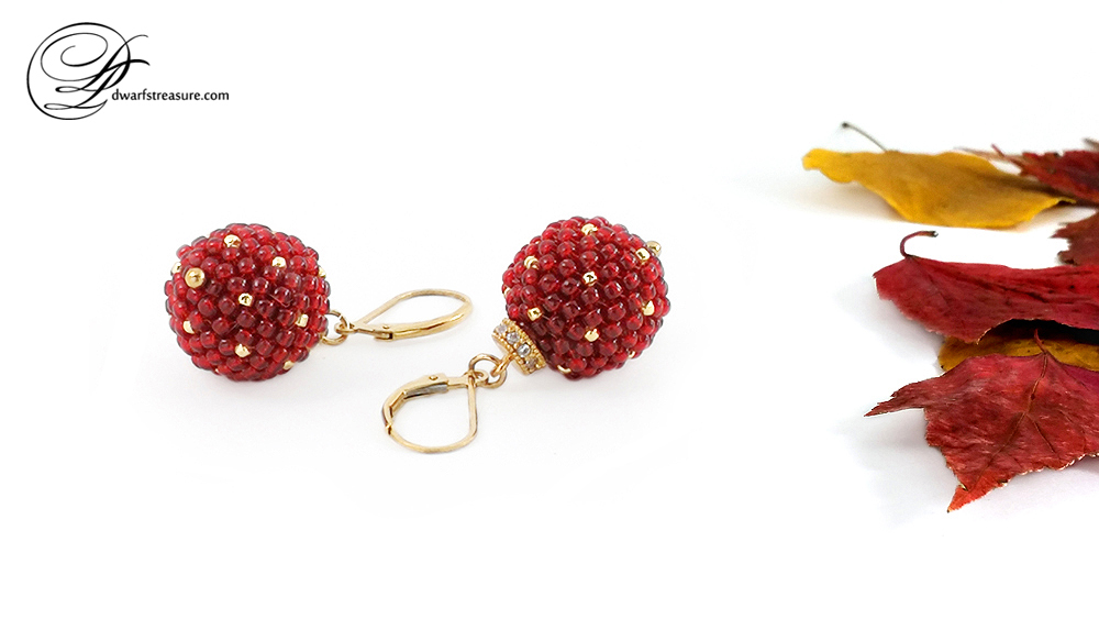 Sophisticated bright red beaded earrings