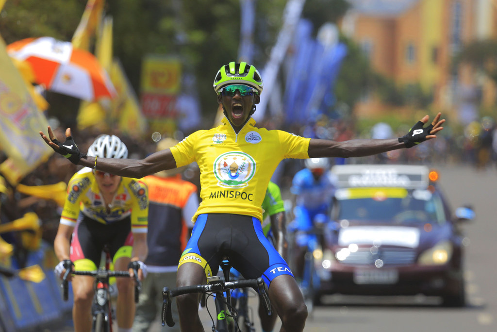 Tour du Rwanda 2018 champion Samuel Mugisha celebrates his crucial win as he crosses the finish line at Nyamirambo (Sam Ngendahimana)