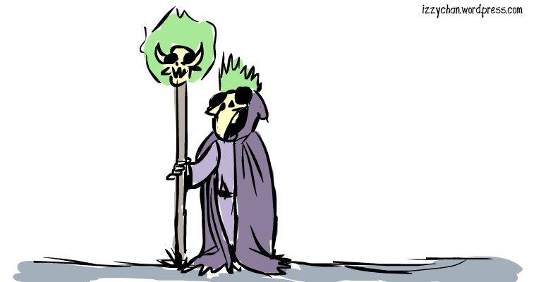 purple warlock with green flame