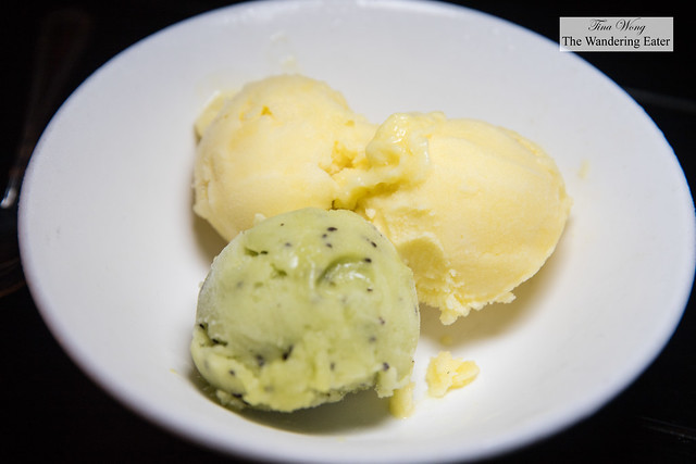 Two scoops of pineapple and kiwi sorbet from Il Laboratorio del Gelato