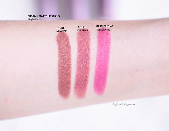 Maybelline Creamy Matte Nude Nuance, Touch of Spice, Mesmerizing Magenta swatches