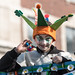 A St Patrick's parade jester at Leeds