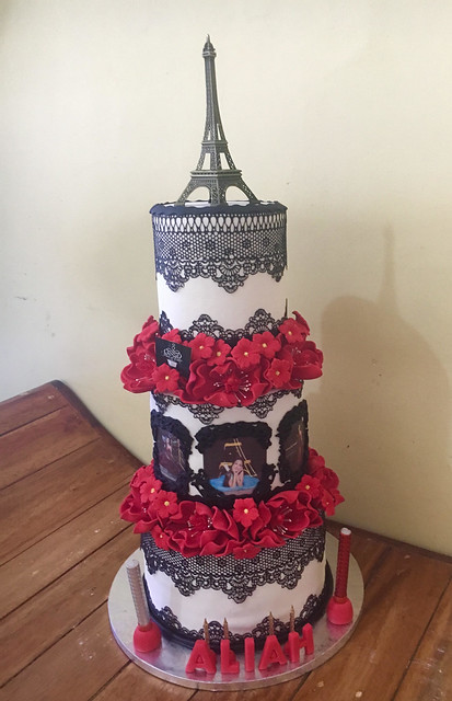 Red and Black Paris Themed Debutant Cake from Judy Ignacio of Piece of Cake by Maria
