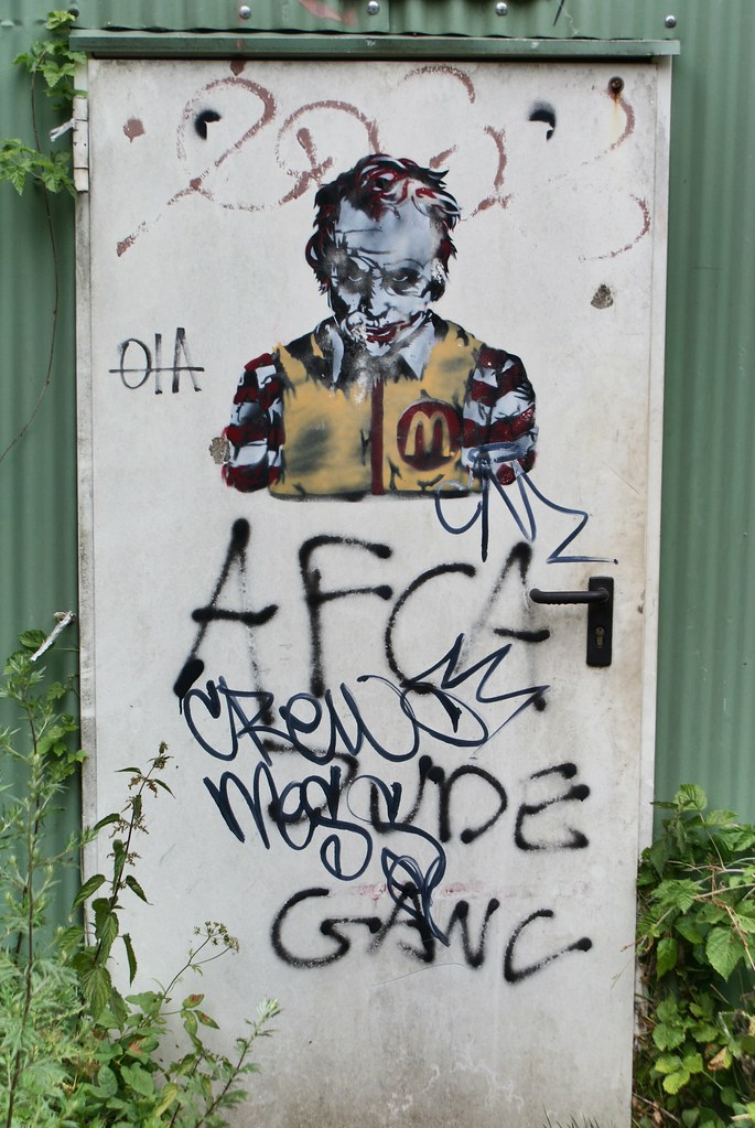 """Street art à ADM d'Amsterdam : Ronald """"Joker"""" McDonald."""