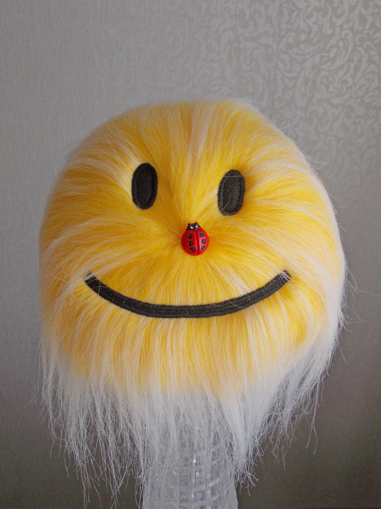 furry yellow plush smiley face stuffed toys_118