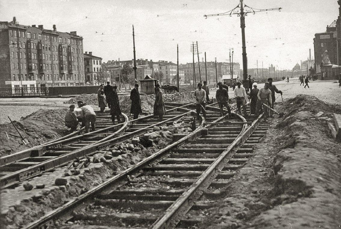 1923. Дорожные работы на Обводном канале